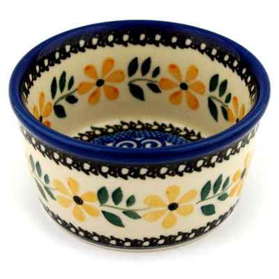 Polish Pottery Bowl Small Golden Daisy Swirl