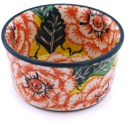 Polish Pottery Bowl Small Orange Peonies UNIKAT