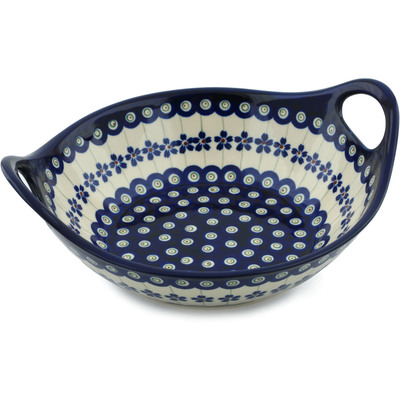 "Polish Pottery Bowl with Handles 10"" Flowering Peacock"