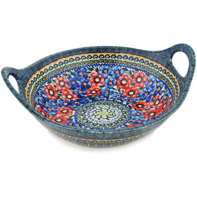 Polish Pottery Bowl with Handles 12-inch Blue And Red Poppies UNIKAT
