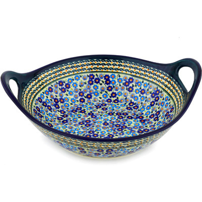 Polish Pottery Bowl with Handles 12-inch Cottage Garden UNIKAT