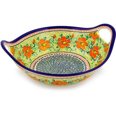 Polish Pottery Bowl with Handles 12-inch Fire Poppy UNIKAT