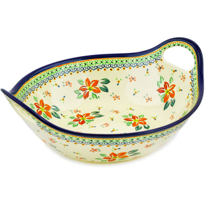 Polish Pottery Bowl with Handles 12-inch Orange Clematis