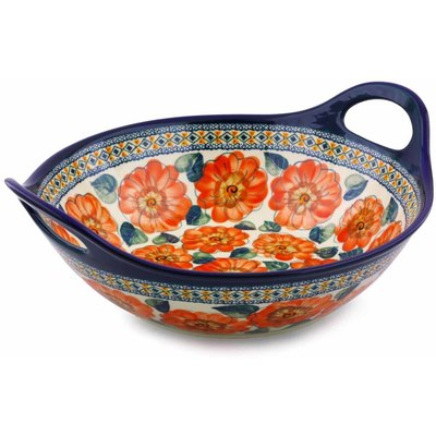 Polish Pottery Bowl with Handles 12-inch Peach Poppies UNIKAT