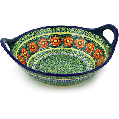 Polish Pottery Bowl with Handles 12-inch Poppies All Around UNIKAT