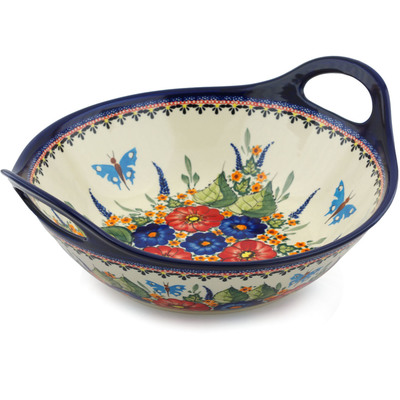 Polish Pottery Bowl with Handles 12-inch Spring Splendor UNIKAT