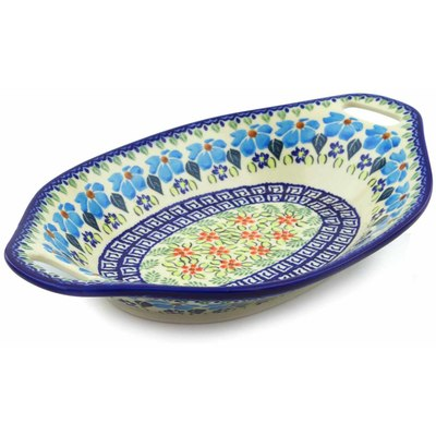 "Polish Pottery Bowl with Handles 13"" Pansy Morning"