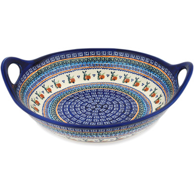 Polish Pottery Bowl with Handles 15-inch Apple Pears