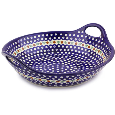 Polish Pottery Bowl with Handles 15-inch Mosquito