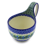 Polish Pottery Bowl with Loop Handle 16 oz Aster Wreath