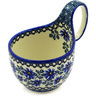 Polish Pottery Bowl with Loop Handle 16 oz Blue Chicory