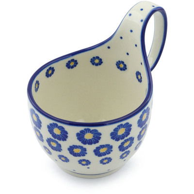 Polish Pottery Bowl with Loop Handle 16 oz Blue Zinnia
