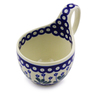 Polish Pottery Bowl with Loop Handle 16 oz Forget-me-not Peacock