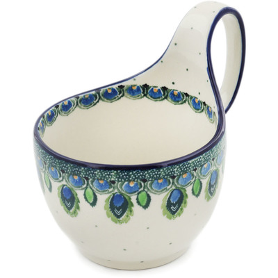 Polish Pottery Bowl with Loop Handle 16 oz Peacock Feather