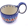 Polish Pottery Bowl with Loop Handle 16 oz Red Poppies On Blue