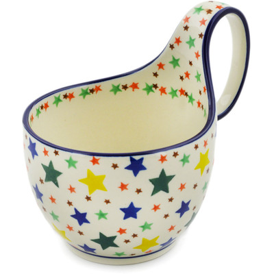 Polish Pottery Bowl with Loop Handle 16 oz Star Fiesta
