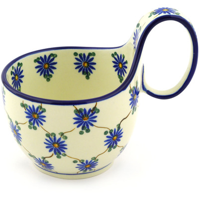 Polish Pottery Bowl with Loop Handle, loop bowl 16 oz Aster Trellis