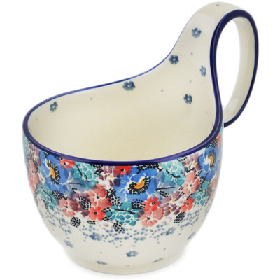 Polish Pottery Bowl with Loop Handle, loop bowl 16 oz Autumn Bunch UNIKAT