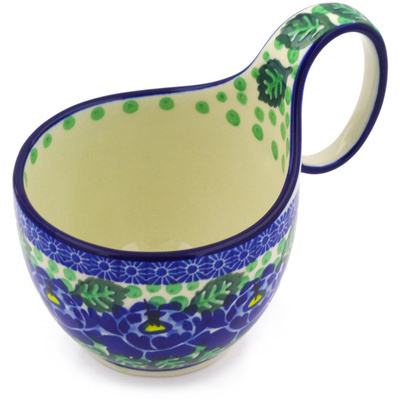 Polish Pottery Bowl with Loop Handle, loop bowl 16 oz Blue Bliss