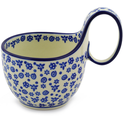 Polish Pottery Bowl with Loop Handle, loop bowl 16 oz Blue Confetti