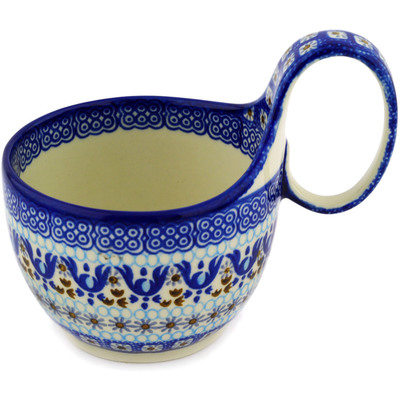Polish Pottery Bowl with Loop Handle, loop bowl 16 oz Blue Ice