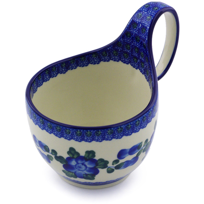 Polish Pottery Bowl with Loop Handle, loop bowl 16 oz Blue Poppies