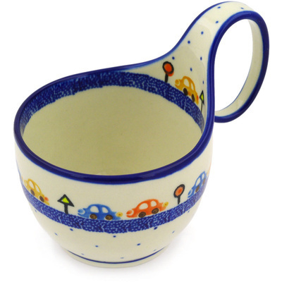 Polish Pottery Bowl with Loop Handle, loop bowl 16 oz Children's Chasing Cars