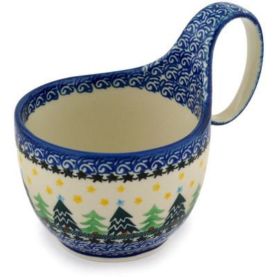 Polish Pottery Bowl with Loop Handle, loop bowl 16 oz Christmas Evergreen