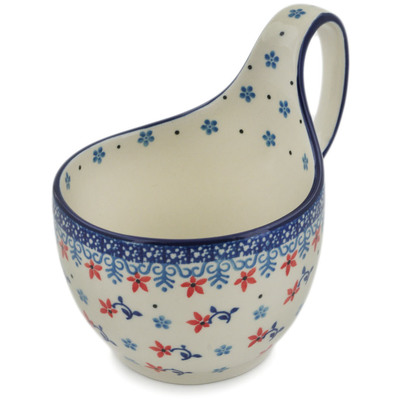 Polish Pottery Bowl with Loop Handle, loop bowl 16 oz Elegant Symphony