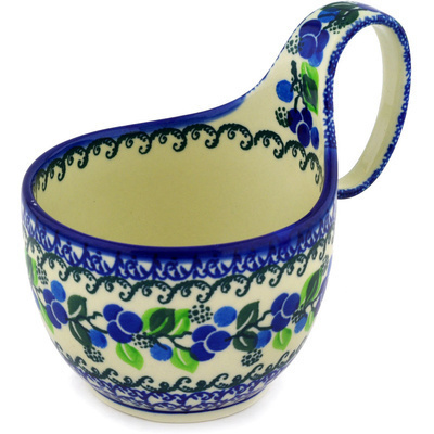 Polish Pottery Bowl with Loop Handle, loop bowl 16 oz Limeberry