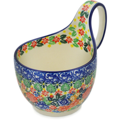 Polish Pottery Bowl with Loop Handle, loop bowl 16 oz Red Bouquet UNIKAT