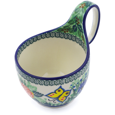Polish Pottery Bowl with Loop Handle, loop bowl 16 oz Spring Garden UNIKAT