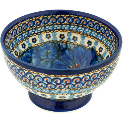 "Polish Pottery Bowl with Pedestal 5"" Cobalt Poppies UNIKAT"