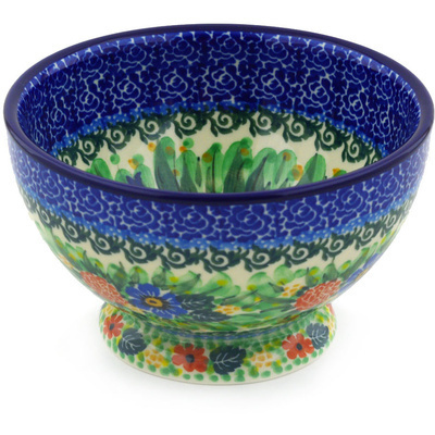 "Polish Pottery Bowl with Pedestal 5"" Robbin's Meadow UNIKAT"
