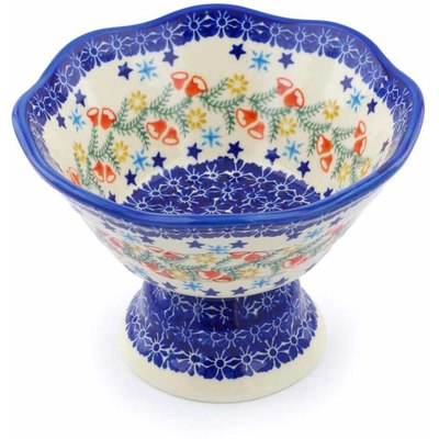"Polish Pottery Bowl with Pedestal 7"" Wreath Of Bealls"