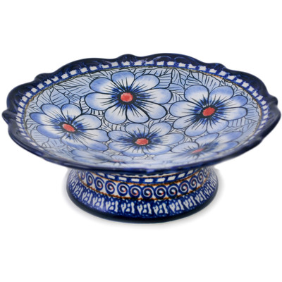 "Polish Pottery Bowl with Pedestal 8"" Blue Heaven"