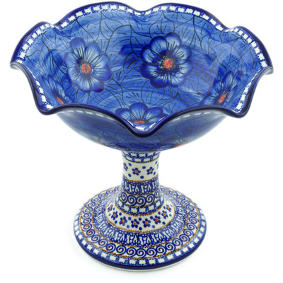 "Polish Pottery Bowl with Pedestal 9"" Blue Heaven"