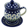 Polish Pottery Brewing Mug 10 oz Blue Tulip Peacock