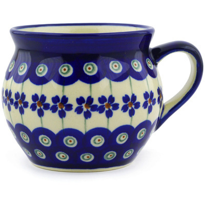 Polish Pottery Bubble Mug 10 oz Flowering Peacock