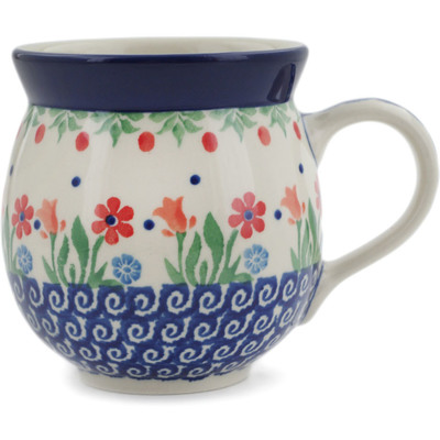 Polish Pottery Bubble Mug 12 oz Babcia's Garden