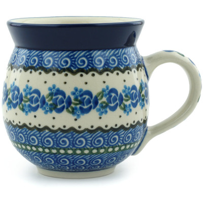 Polish Pottery Bubble Mug 12 oz Blue Bud Sea