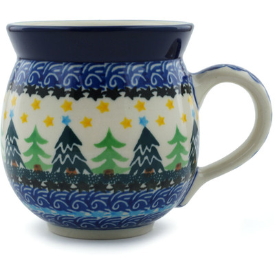 Polish Pottery Bubble Mug 12 oz Christmas Evergreen