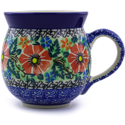 Polish Pottery Bubble Mug 12 oz Cosmos Garden UNIKAT