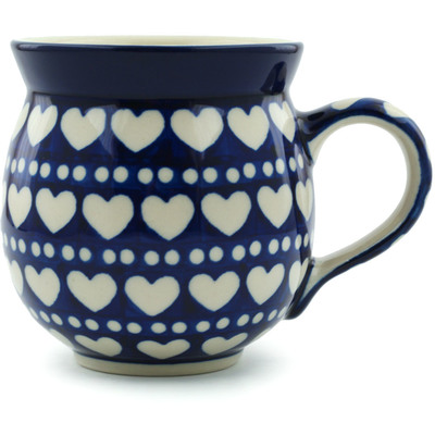 Polish Pottery Bubble Mug 12 oz Heart To Heart