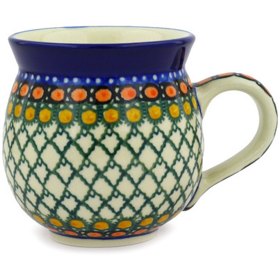 Polish Pottery Bubble Mug 12 oz Orange Tranquility UNIKAT