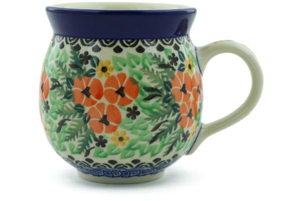 Polish Pottery Bubble Mug 12 oz Peacock Leaves made by Ceramika Artystyczna