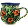 Polish Pottery Bubble Mug 12 oz Peach Rose Blooms UNIKAT