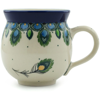 Polish Pottery Bubble Mug 12 oz Peacock Feather