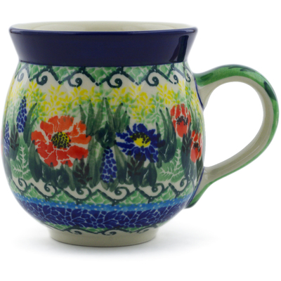 Polish Pottery Bubble Mug 12 oz Splendid Meadow UNIKAT