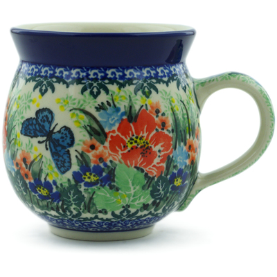 Polish Pottery Bubble Mug 12 oz Spring Floral Garland UNIKAT